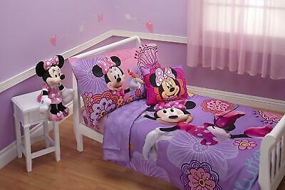 Minnie Mouse Toddler Bed 4Pc Comforter Set Fitted Flat Sheet Cot Junior