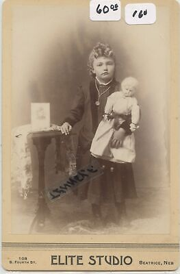 Cabinet Photo Little Girl Holding A Porcelein Doll With Cabinet Card Image Neb