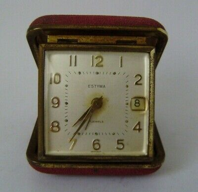 Estyma Travel Alarm Clock Vintage 1960 red clam Case Working Time Piece 7 jewels