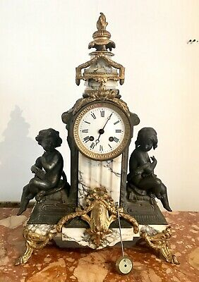 Antique French 19thC Mantel Marble Clock By AD.Mougin