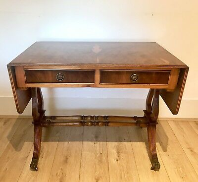 Antique Yew Wood And Mahogany Two Drawer Drop Leaf Sofa Table