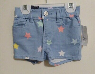 Baby Gap Toddler Girls Pull-On Stars Denim Shorts Size 2 Yrs NWT