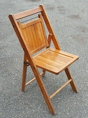 Antique FOLDING DECK CHAIR Oak WOOD SLAT Arts & Crafts