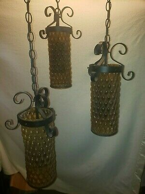 Vintage Wrought Iron Amber Glass Triple Hanging Swag Lamp Light Fixture