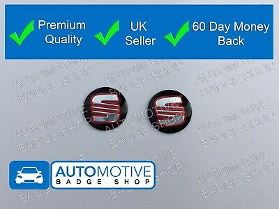 Seat 2 X Pair Key Fob Remote Emblem Sticker Badge Leon Ibiza Fr Cupra 14Mm Red