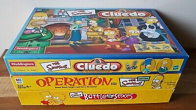 The Simpsons Board Games x 3 Collectable Operation Cluedo Battle Of The Sexes