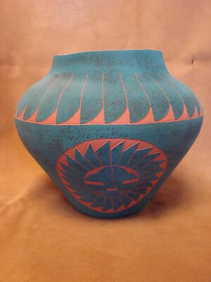 Native American Acoma Indian Pottery Hand Painted Vase by JS Lewis