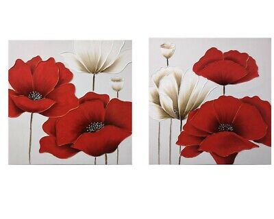 New Red and Gold Poppies Hand Painting Picture Flowers Painting Wall Art Decor