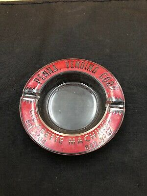 "Vintage Pennsylvania Vending Corp. Ashtray 5"" Clear Glass Red & White Graphics"