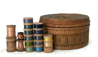 Antique Chinese  Sewing Basket  w/ Wooden Spools of Thread Sewing Collectibles