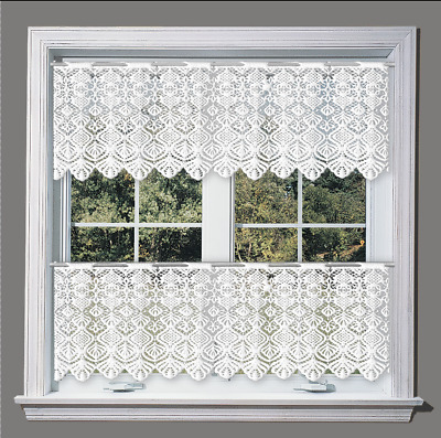 Kitchen Curtains Cafe Net Curtain Lace White Window Decor Sold by the metre