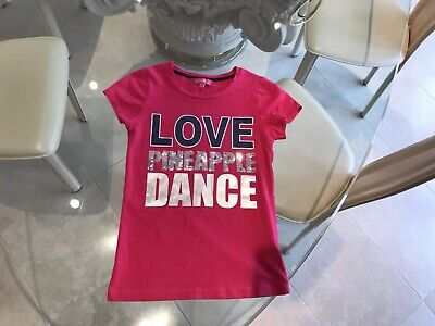 Pineapple Dance Girls T-Shirt with Sequins Size 9-10 Years - Excellent Condition