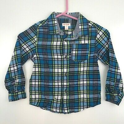 Cat & Jack Toddler Boys Size 5T Button Front Shirt Long Sleeve Plaid Blue