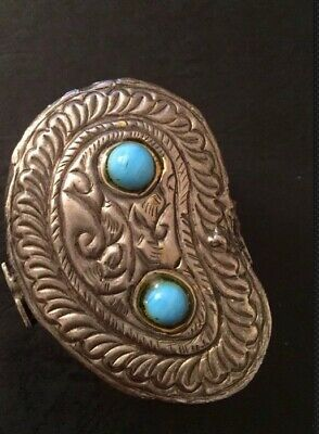 Yemeni Traditional Jewellery Box With Turquoiise Stones 100% Genuine Old Silver