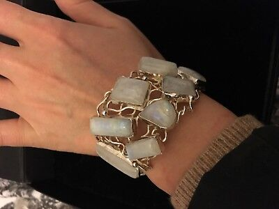Silver Bracelet With Big Moon Stones