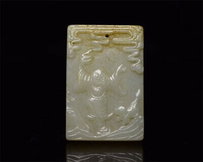 "2.32""  Chinese natural Hetian Nephrite jade Hand carved figure personage pendant"