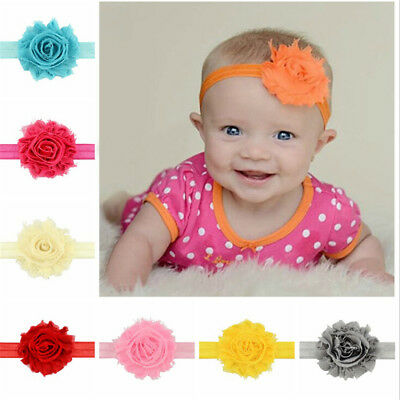 12Pcs Cute Kids Girl Baby Chiffon Toddler Flower Bow Headband Hair Band Headw xh