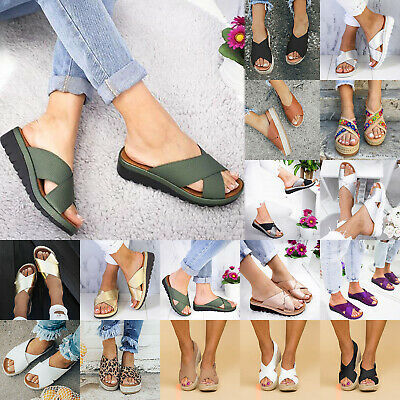 Womens Wedge Flatfrom Heels Straps Sandals Slip On Summer Beach Comfy Slippers