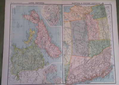 Circa 1897 Victorian Map Canada Lower Bartholomew From The Citizen's Atlas