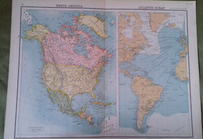 Circa 1897 Victorian Map of North America Bartholomew From The Citizen's Atlas