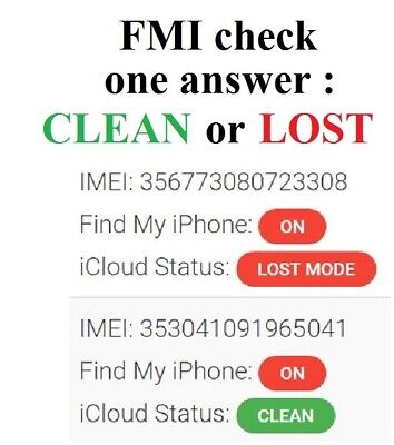 Check FMI Find My Iphone (CLEAN or LOST) pour iCloud / iPhone / iPad / info imei