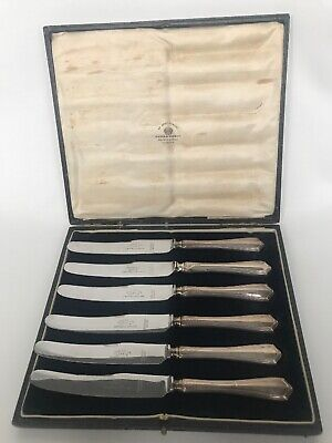 Antique Set Of Six London Cutlery Knives Mappin And Webb Viners Ltd Silver