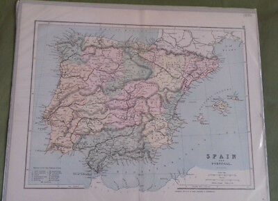 Circa 1886 Victorian  Antique Map Of Spain & Portugal George Philip & Sons