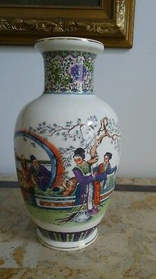 Vintage Oriental Art Decor Japanese Chinese Hand Painted Vase