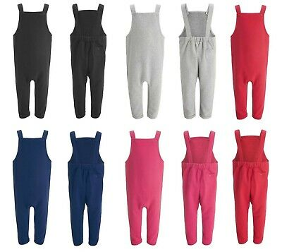 Kids Boys Girls Baby Toddler Plain Blank Cotton Fleece Lined Dungarees Warm Cosy