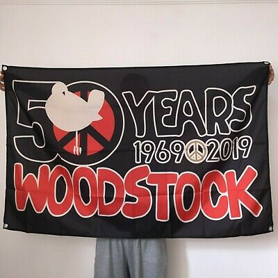 Woodstock 50th Anniversary 1969-2019 Flag Music Tapestry Banner Poster 3x5ft