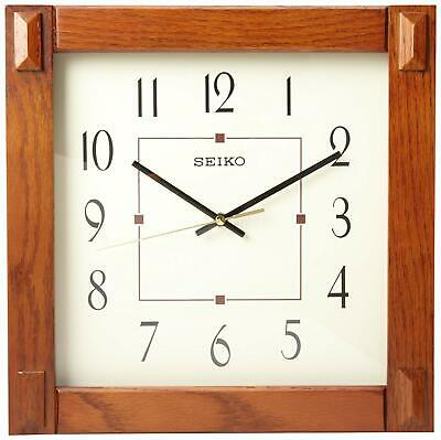 SQUARE Seiko Wall Clock With Brown Case QXA469BL