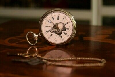 MASONIC SILVER & Gold Pocket Watch Compass Symbol Unknown Group