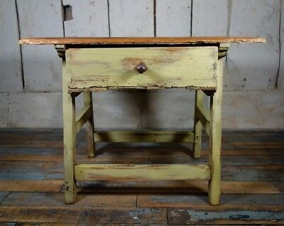 An Antique Painted Spanish Prep Side Table Primitive Drawer Bedside Cabinet