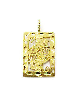 14K Yellow Gold King of Hearts Card Charm Necklace Pendant ~ 2.4 g