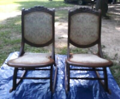 Antique Victorian Rocking Chair Folding Oak Sewing Rocker Floral Rose Tapestry 2