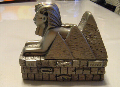 Egyptian Sphinx Figurine with three pyramids on the side silver color
