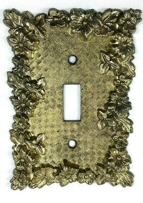 Vintage Brass Single Toggle Plate Light Switch Cover Ornate Flowers Farmhouse