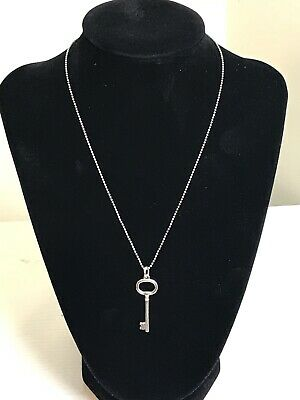 """Tiffany & Co. Oval Key Necklace Pendant Sterling Silver 925 Beaded Necklace 16"""""""