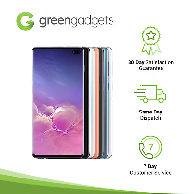 Samsung Galaxy S10+ Plus 128/512 GB Black White Blue Pink Unlocked Smartphone