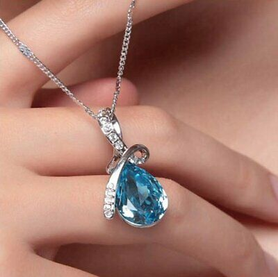18K White Gold Plated Eternal Love Teardrop Necklace Made with Swarovski Element
