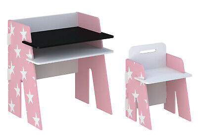 Girls pink study table chairs. Star Desk and Chair for Kids, Pink