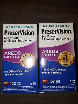 X2 Bausch Lomb PreserVision Eye Supplement Areds 120 Softgels  240