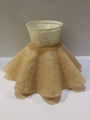 Antique Plastic Boudoir Cream Clip On Lamp Shade Fluted Ruffles & Lace NICE