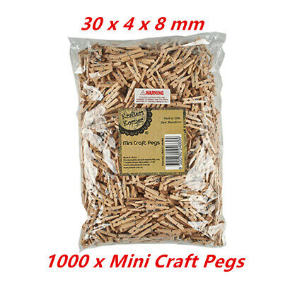 1000 x Mini Wooden Craft Pegs Decoration Cloth Hanging Paper Photo Pins