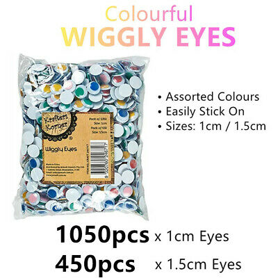 1500 x Wiggly Eyes Colour 1.5cm Googly Jiggly Craft DIY Decor Art Puppet Doll