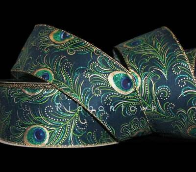 Premium Wired Peacock Ribbon 50 Yards 2.5 Inches Wide Teal Blue Green Gold