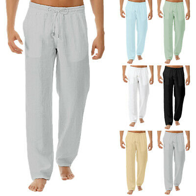 UK Summer Men's Casual Cotton Linen Loose Trousers Long Baggy Beach Yoga Pants #