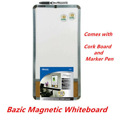 Bazic Magnetic Whiteboard Dry Erase Cork board Marker Pen and 2 Magnets 22x44cm