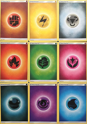 90X Basic Energy cards Sun Moon sets UnNumbered M/NM Pokemon (10 cards of each)