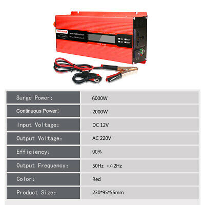 eTakin 6000W Solar Power Inverter Converter DC 12V to AC 220V For Car Vehicle